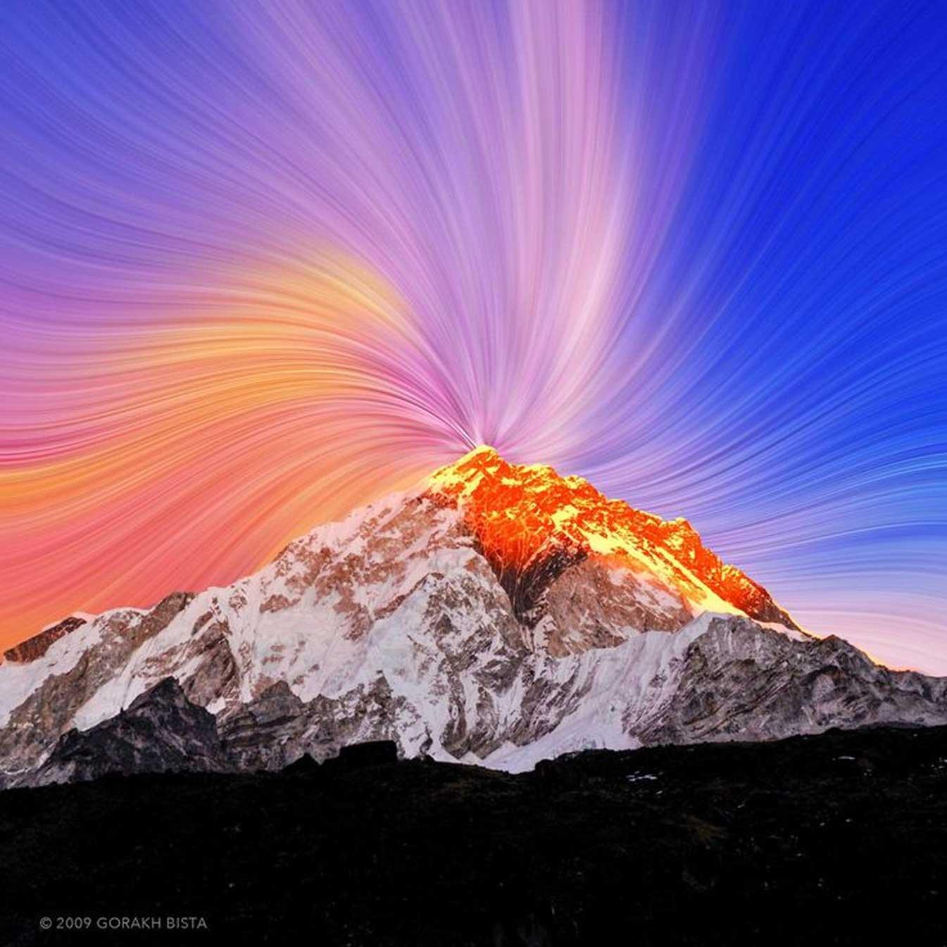 Sunset illusion over mountain